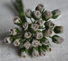 4mm GREY ROSE BUDS Mulberry Paper Flowers